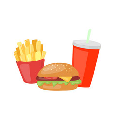 fast food set big hamburger french fries and soda vector image