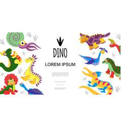 flat cute prehistoric animals concept vector image