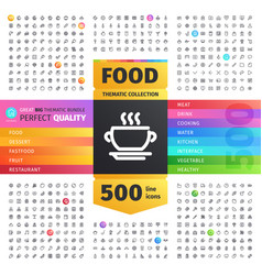 Food thematic collection of line icons vector