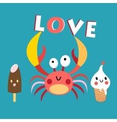 Funny crab vector