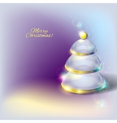 Glass transparent Christmas tree vector
