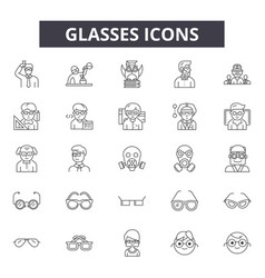 glasses line icons for web and mobile design vector image