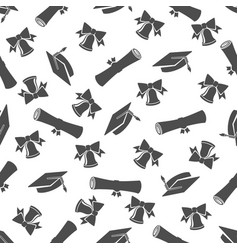 graduate seamless pattern with student cap vector image