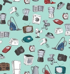 Hand drawn household appliances seamless vector