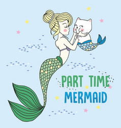 Hand drawn mermaid kissing vector