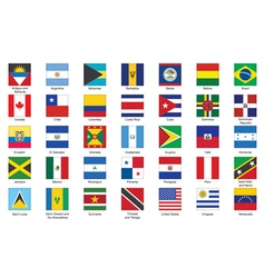 icons with flags of Americas vector image