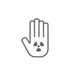 Ionizing radiation sign on a palm line icon vector image