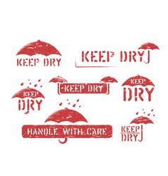 Keep dry umbrella grungy box signs set rubber vector