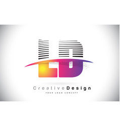 Ld l d letter logo design with creative lines and vector