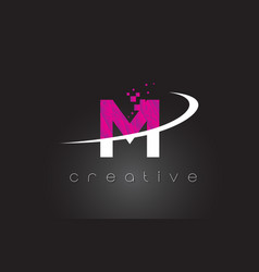 m creative letters design with white pink colors vector image