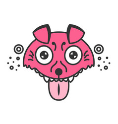 mad dog cartoon pink puppy funny vector image