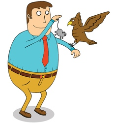 Man feeding eagle vector image
