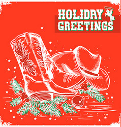 Merry christmas and New Year red card with cowboy vector