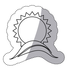 Monochrome contour sticker with sun over hill vector