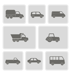 monochrome icons with car icons vector image