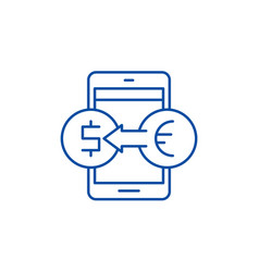 online currency exchange line icon concept online vector image