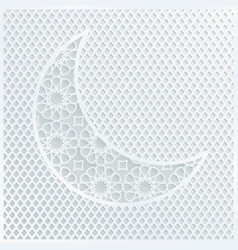 Ornamental arabic half moon with decorative pale vector