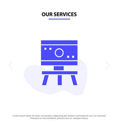 our services atom board science space solid glyph vector image