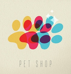 Pet shop color dog paw concept vector