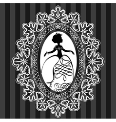 Princess in lace oval frame vector