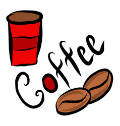 red coffee beaker mug coffee vector image