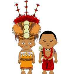 Samoans in national dress vector