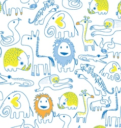Seamless animal pattern soft color vector