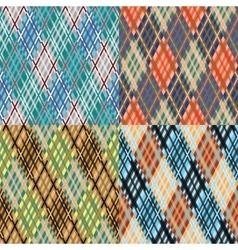Seamless tartan pattern set Diagonal Cool vector image