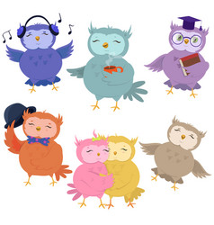 set cute owls isolated on white background vector image