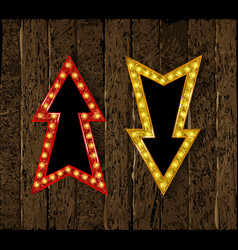 set gold retro arrow with lights vector image
