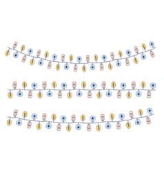 set hand draw christmas lights festive garland vector image