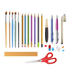 Set include pens ana pencils vector