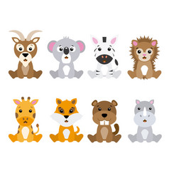 set of cute animals isolated vector image vector image