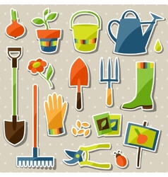 Set of garden sticker design elements and icons vector