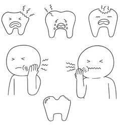 set of toothache vector image