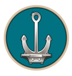 Silver anchor on the blue background vector