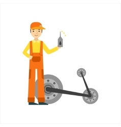 Smiling Mechanic Changing Oil In The Garage Car vector