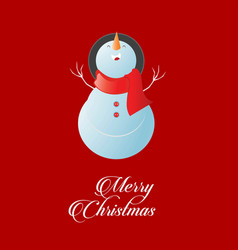 snow man with red background vector image