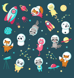Space animal icon set vector