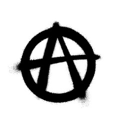 Sprayed anarchy symbol with overspray in black vector