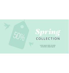 spring big sale banner with tag and birds elegant vector image