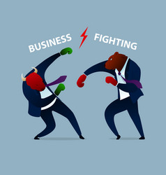 Trader animal business fighting boxing gloves vector