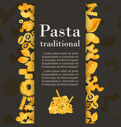 Traditional italian pasta and macaroni flyer cover vector
