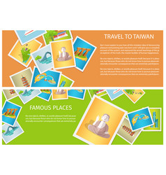 Travel to taiwan around famous places brochure vector