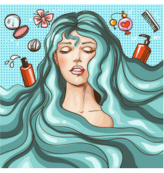 vintage pop art beauty salon poster vector image