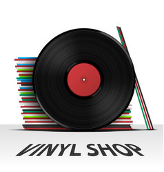 vinyl record shop cover vector image