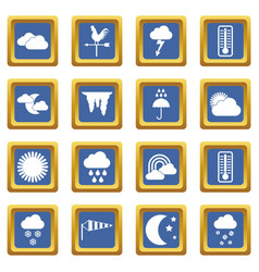 Weather icons set blue vector