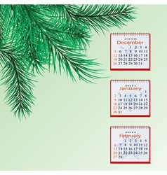 winter calendar vector image