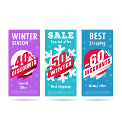 winter flyers set with snowflacke and discount vector image