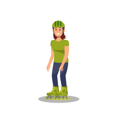 young woman enjoying roller skating healthy and vector image